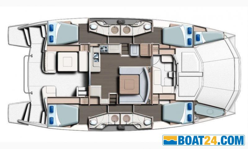 <b>Manufacturer Provided Image: Leopard 51 PC Main Deck 4 Cabin Layout Plan</b><br/>