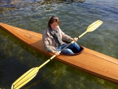 Two Classic Hand Made Wooden Kayaks Canoa