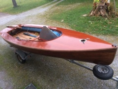 Olympic Finn Dinghy aus Mahagoni Reddingsboot