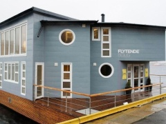 Grey Floating House Houseboat Woonboot